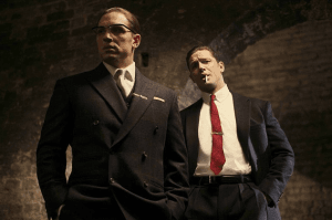Tom Hardy as the Kray twins; respecting residents as filming takes place. Pic: PA