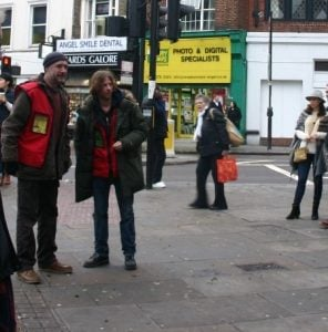 Luke Treadaway during filming on Upper Street. Pic: Jodi Moore