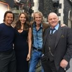 Mark Wahlberg, Laura Haddock, Michael Bay, and Sir Anthony Hopkins filming Transformers: The Last Knight