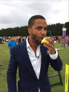 ITV's Sean Fletcher tweeted this pic. Tennis ball cake for breakfast.